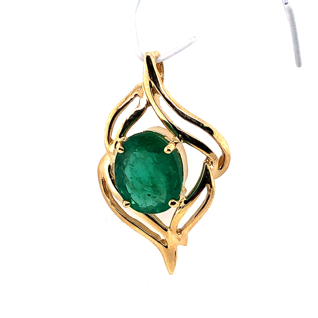 14 Karat Yellow Gold Pendant with Emerald