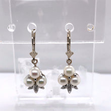 Load image into Gallery viewer, 14 Karat White Gold Earrings with Pearls & Diamonds