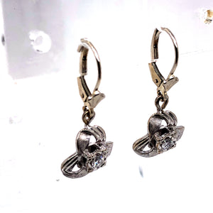 14 Karat White Gold Earrings with Diamonds