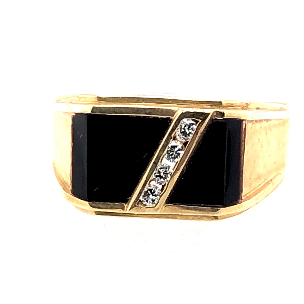 14 Karat Yellow Gold Ring with Onyx & Diamonds