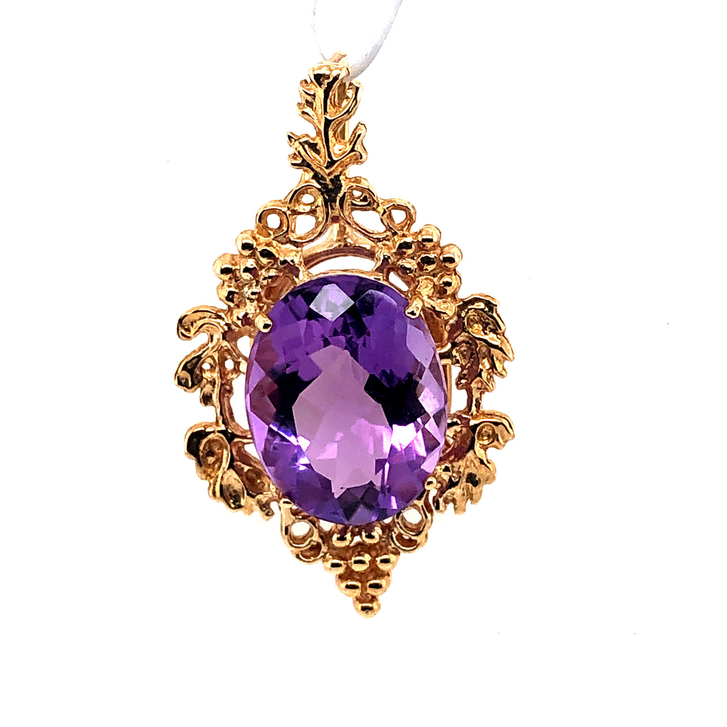14 Karat Yellow Gold Pendant with Amethyst