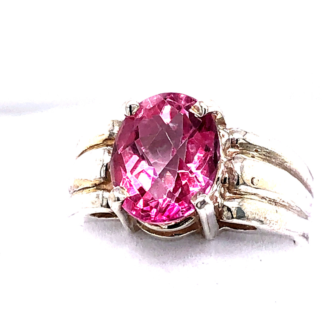 Sterling Silver Ring with Pink Topaz