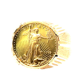 14 Karat Yellow Gold Ring with 1/10 Oz Gold Liberty Coin