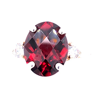 Sterling Silver Ring with Garnet and Cubic Zirconia