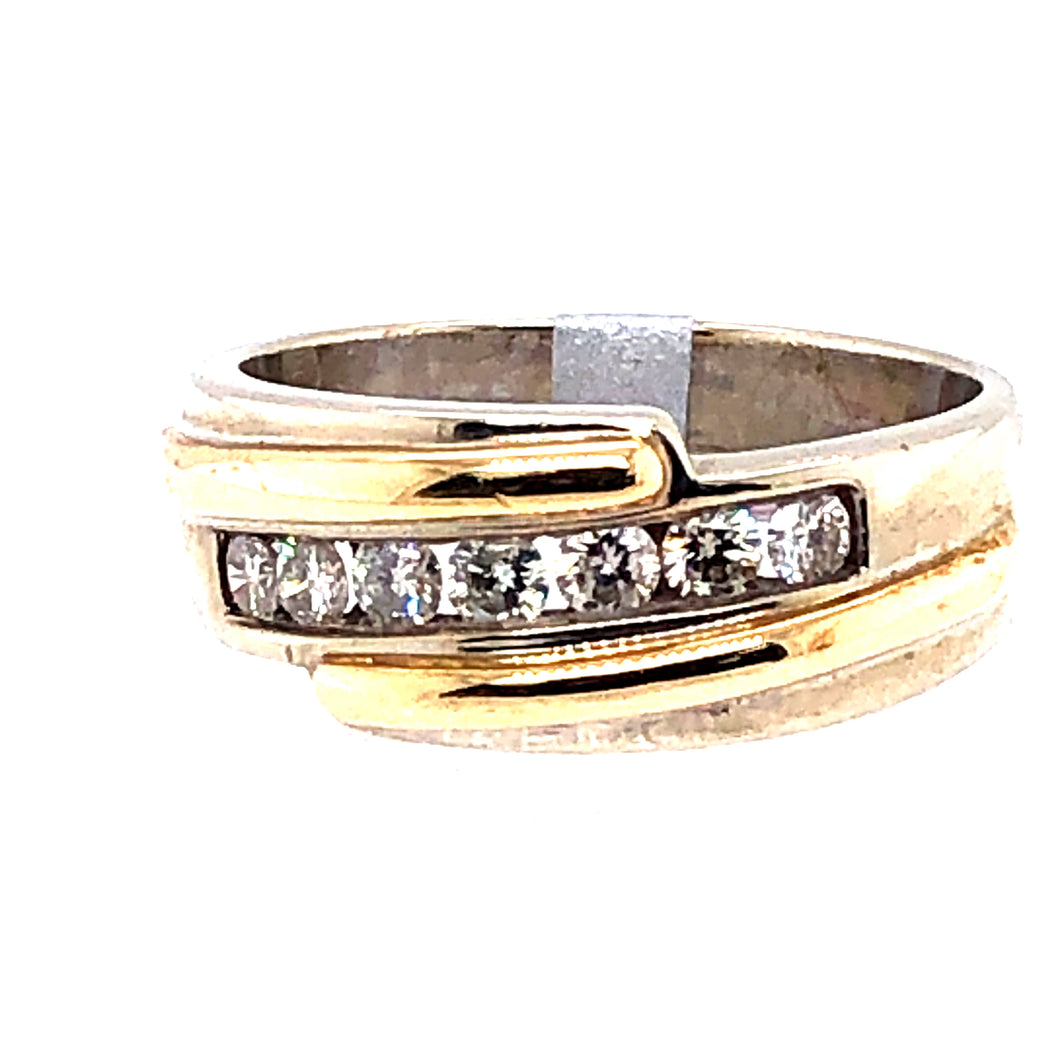 14 Karat White & Yellow Gold Ring with Diamonds