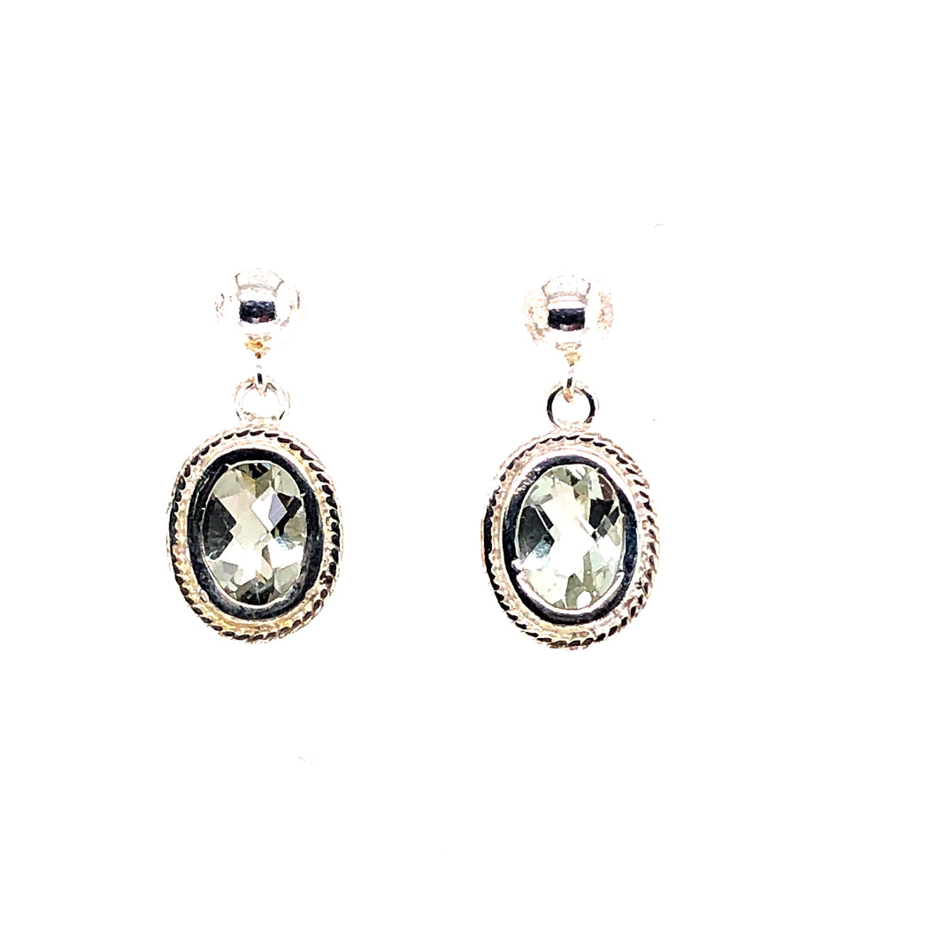 Sterling Silver Earrings with Green Amethyst