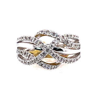 14 Karat White Gold Ring with Diamonds