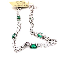 Load image into Gallery viewer, 14 Karat White Gold Bracelet with Emeralds
