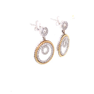 14 Karat White & Yellow Gold Earrings with Diamonds
