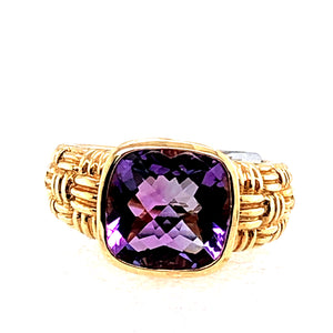 14 Karat Yellow Gold Ring with Amethyst