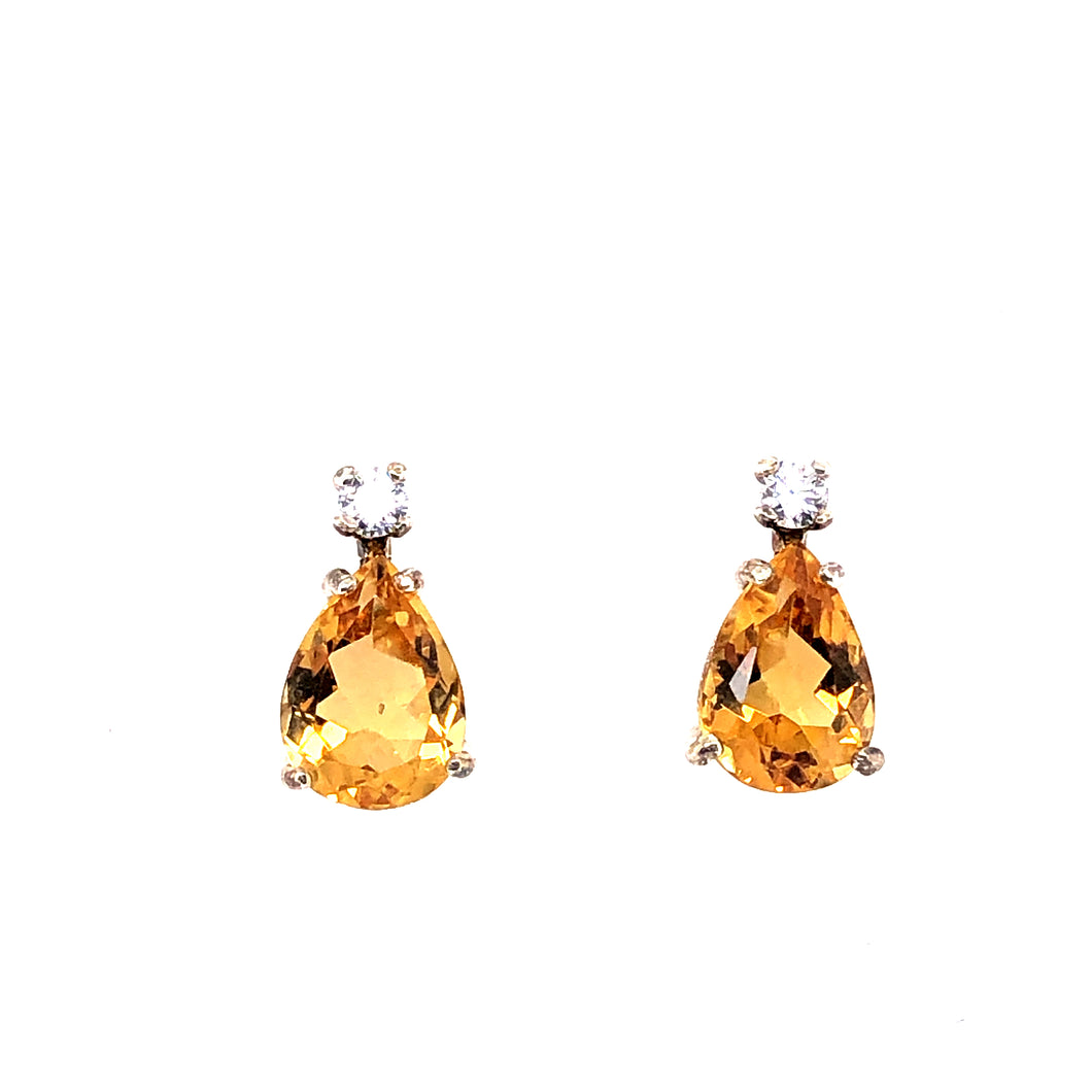 Sterling Silver Earrings with Citrine and White Sapphires