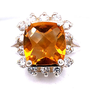 Sterling Silver Ring with Citrine and Cubic Zirconia