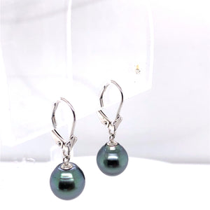 14 Karat White Gold Earrings with Black Pearl