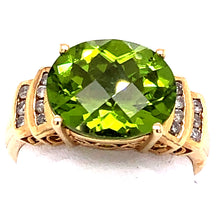 Load image into Gallery viewer, 14 Karat Yellow Gold Ring with Oval Peridot and Diamonds