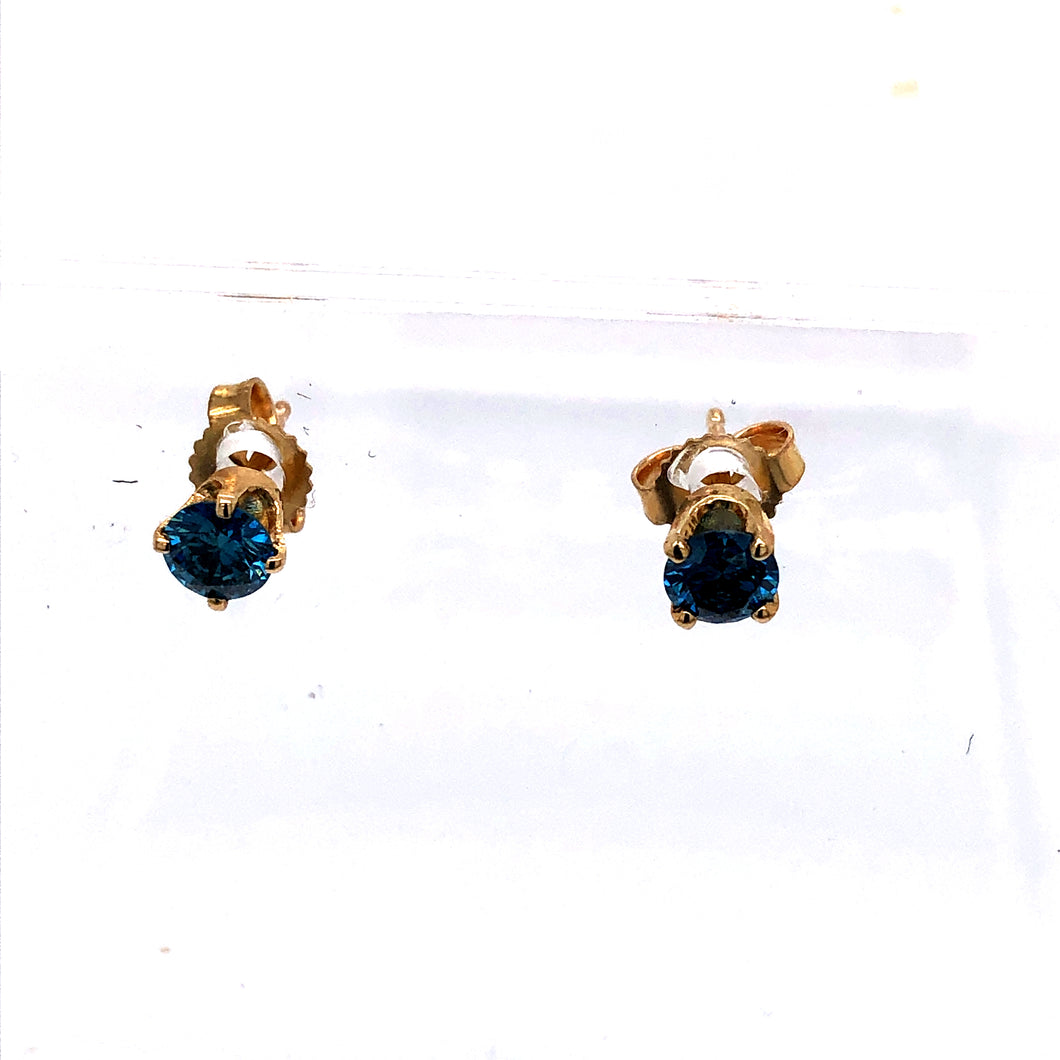 14 Karat Yellow Gold Earrings with Blue Diamonds