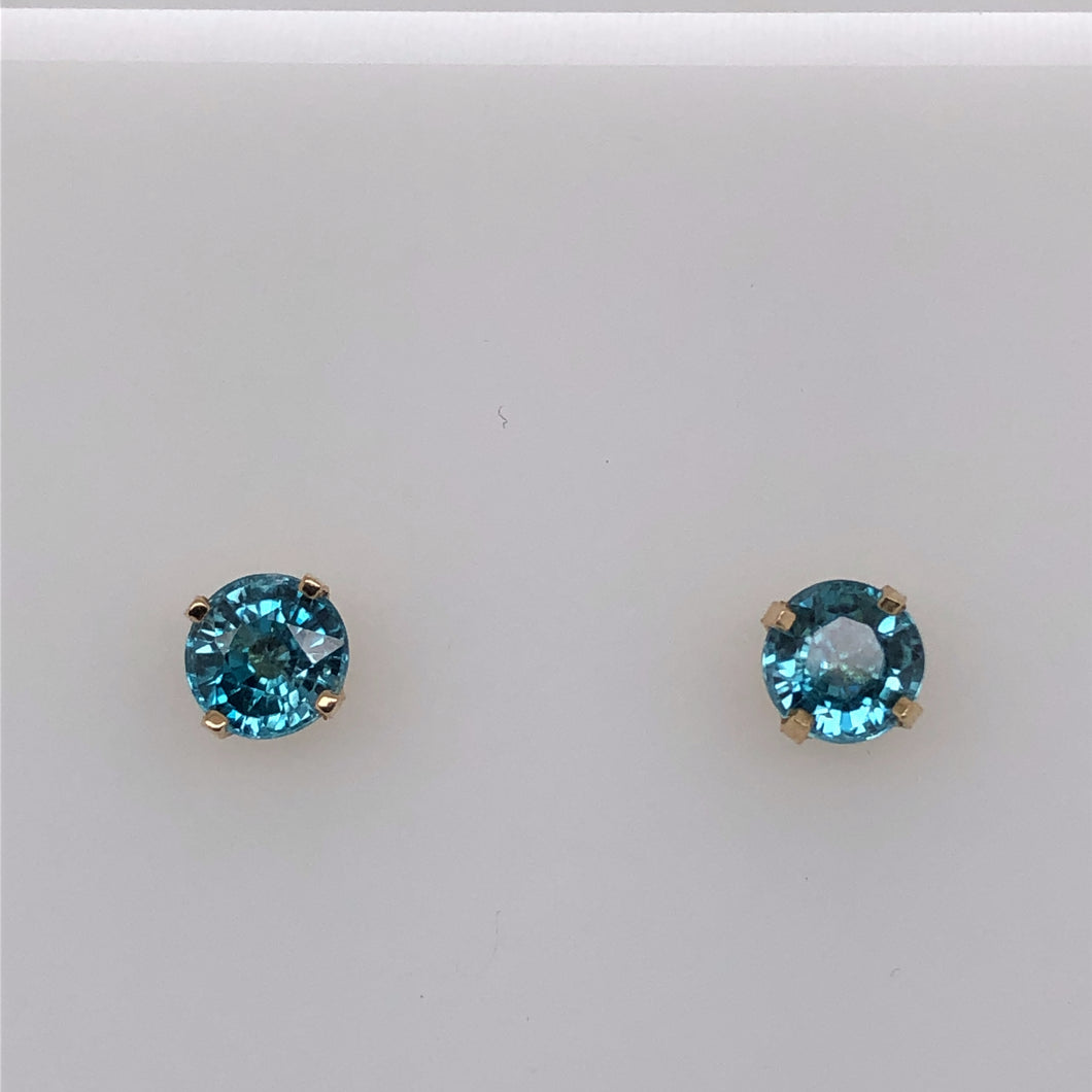14 Karat Yellow Gold Earrings with Blue Zircon