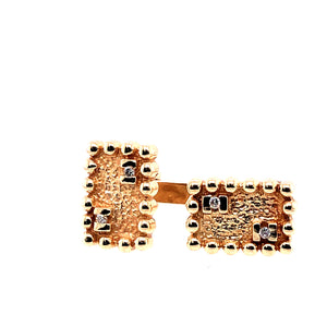 14 Karat Yellow Gold Cuff Links with Diamonds