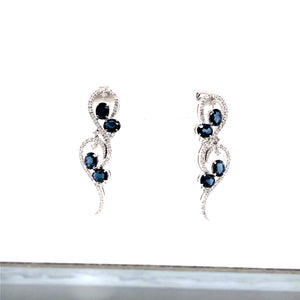 14 Karat White Gold Earrings with Sapphire & Diamonds