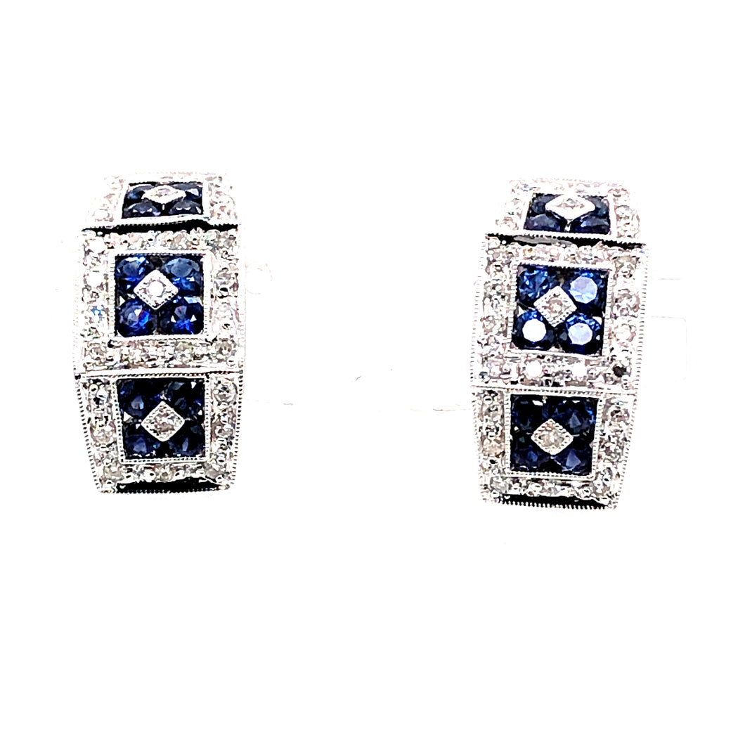 14 Karat White Gold Earrings with Sapphires & Diamonds