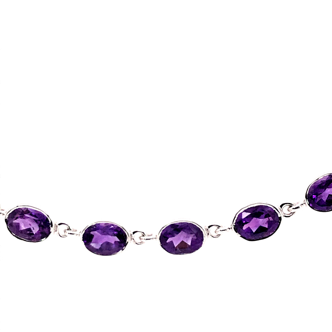 Sterling Silver Bracelet with Amethyst