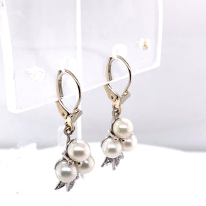 14 Karat White Gold Earrings with Pearls & Diamonds