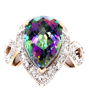 14 Karat Yellow Gold Ring with Mystic Topaz and Diamonds