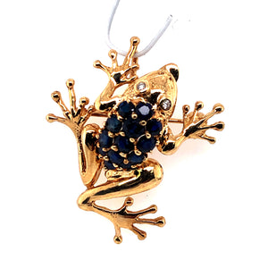 14 Karat Yellow Gold Pendant with Sapphires