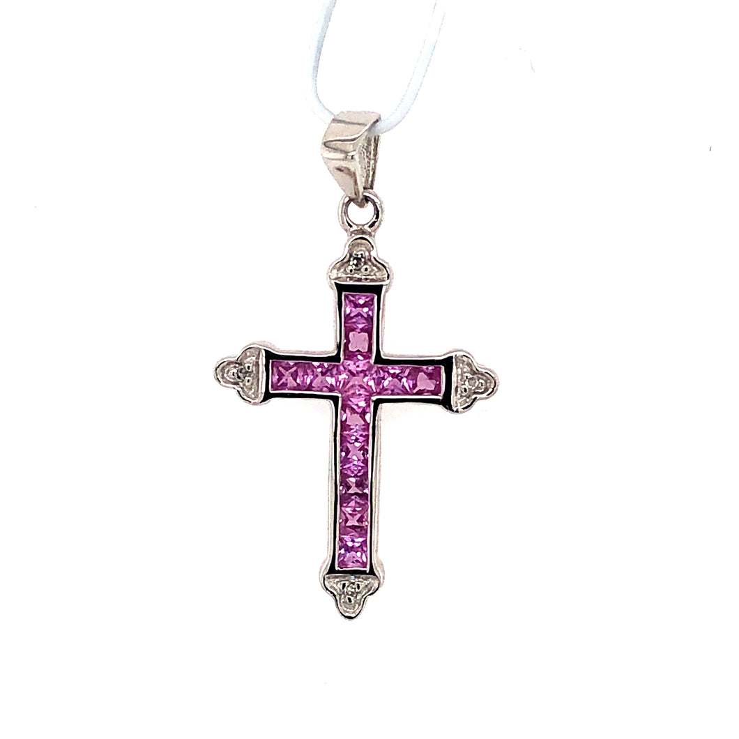 14 Karat White Gold Pendant with Pink Sapphires & Diamonds