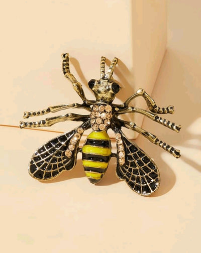 Bee brooch with rhinestones