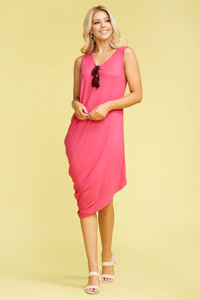Pink sleeveless one sided rouched dress