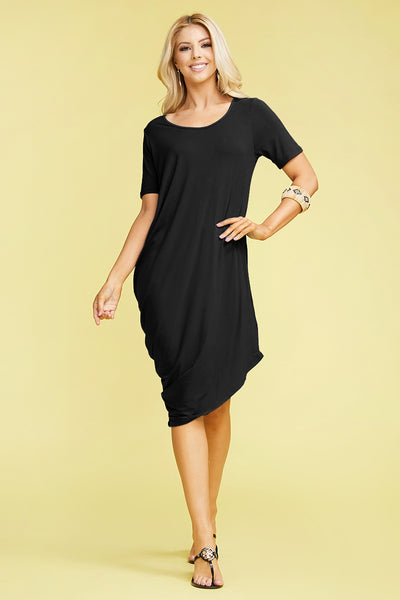 Short Sleeve Dress with Side Slant