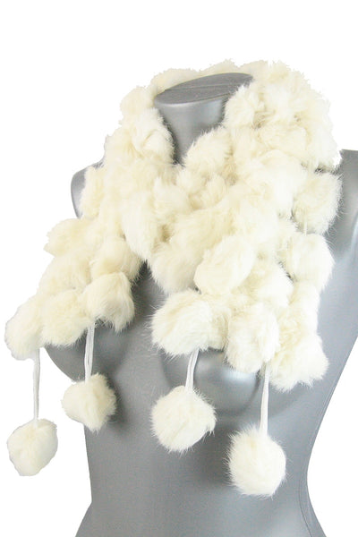 White connected faux fur ball scarf