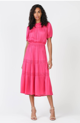 Fuschia midi tiered dress
