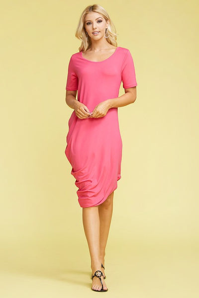 Mauve short sleeve slant dress