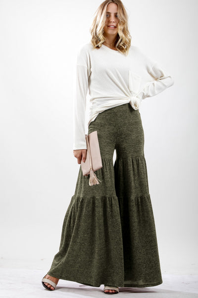 Olive tiered sweater pants