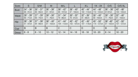 Coquette Lingerie sizing chart