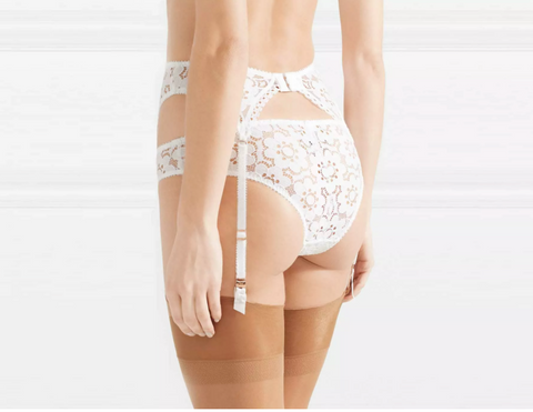 Daizy floral-lace suspender belt
