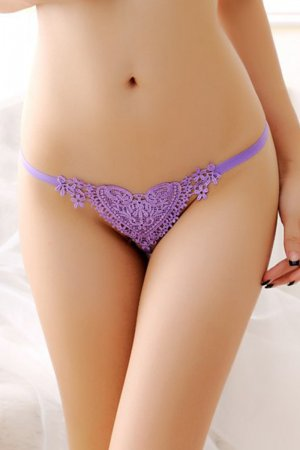 Lovender Lace Heart Pearl G String Panty