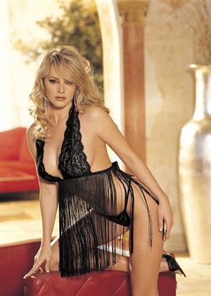 Stretch Lace & Fringe Babydoll - One Size -  Black  - Sexy Bedroom Lingerie