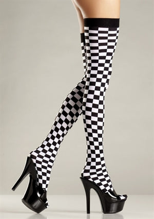 Checkerboard Thigh Highs - One Size - Black and White  - Sexy Bedroom Lingerie