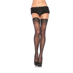 Stay Up Lace Top Sheer Thigh Highs - One Size - Black  - Sexy Bedroom Lingerie