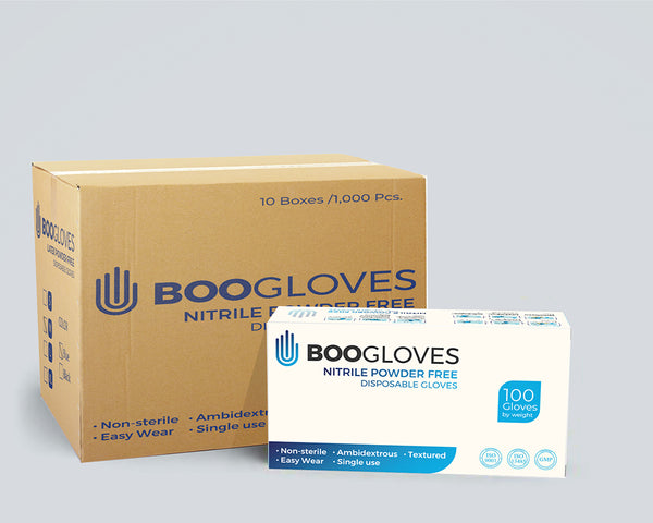 BOO GLOVES - Nitrile Powder Free Glove - Blue - 1000 Gloves Per Carton (10 Boxes)