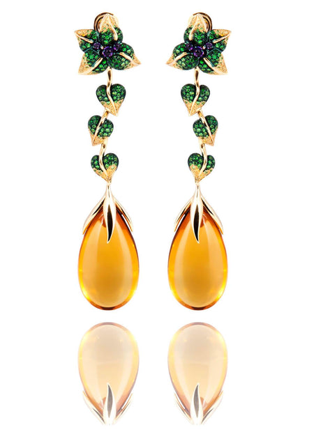 Iconic Emilia Earrings Honey Quartz Long