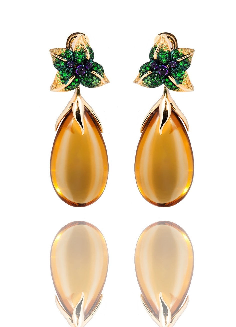Iconic Emilia Earrings Honey Quartz Medium