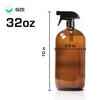 2 Pack 8/16/32oz Amber Glass Spray Bottles Brown Round Mist Refillable Container