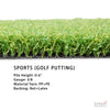 TURF SPORTS (GOLF PUTTING) $1.94/sqft (13ft. Wide X 41ft OR 82ft )