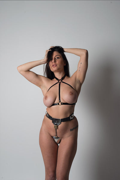 Leather fetish fashion harness