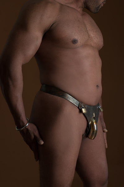 Men's Hybrid Chastity Belt With Steampunk Finish