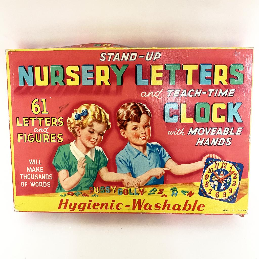 Vintage Nursery Letters and Clock Toy - Where On Earth Antiques and Vintage