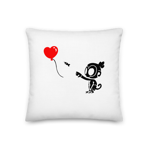 Monkey With Bloon Premium Pillow